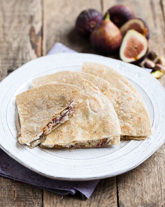 Fig, Honey, Pistachio, and Goat Cheese Quesadillas