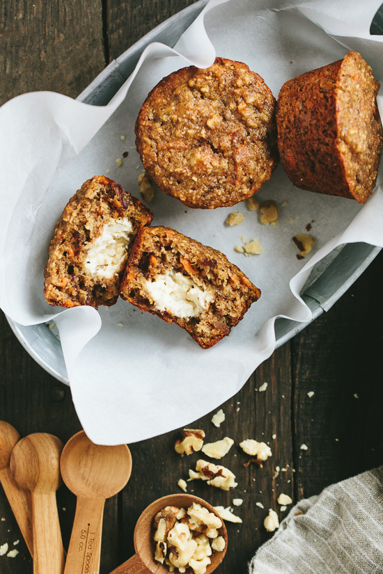 Carrot Banana Muffins {with honey cream cheese}   Gather & Dine