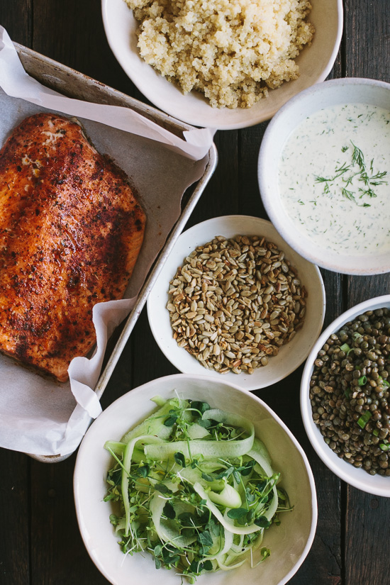 salmon and lentil plate with dilled yogurt-1