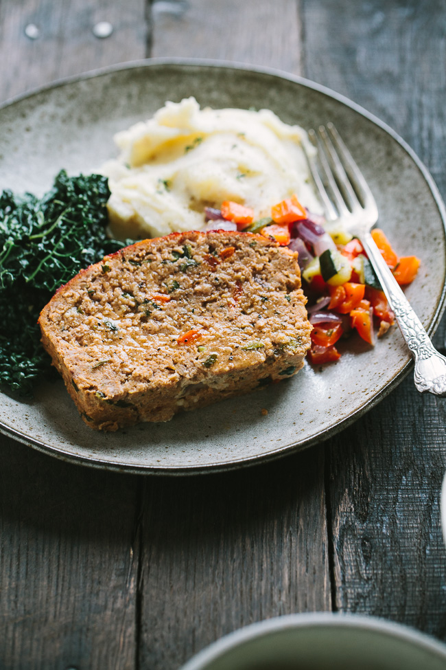 Roasted Vegetable Turkey Meatloaf with Mustard Mashed Potatoes