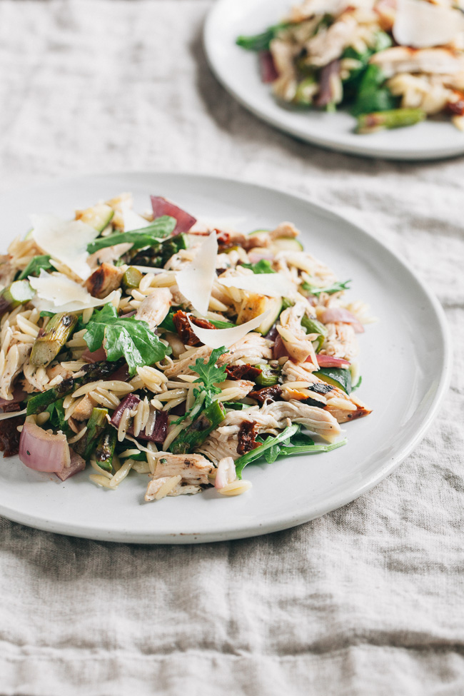 Summer Italian Orzo Salad with Grilled Marinated Vegetables and Chicken | Gather & Dine