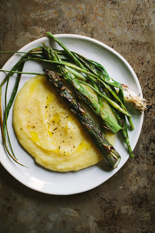 Grilled Spring Vegetables with Parsnip Potato Puree