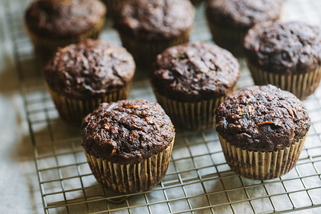 Chocolate Zucchini Coconut Oil Muffins