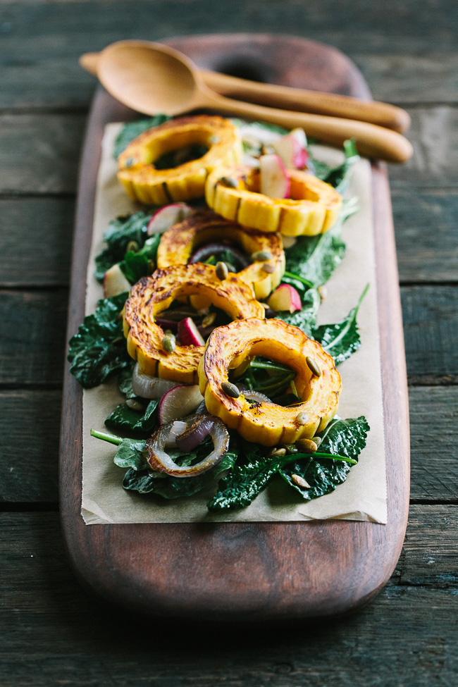 Roasted Delicata Squash with Baby Kale and Balsamic Molasses Vinaigrette