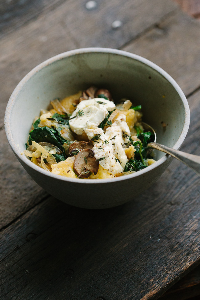 Ricotta Goat Cheese Polenta Bake with Mushrooms, Greens, and Caramelized Onions