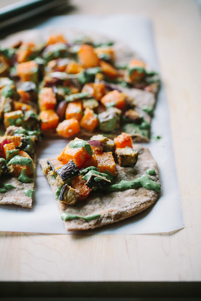 Miso Roasted Veggie Flatbreads with Green Tahini Yogurt -