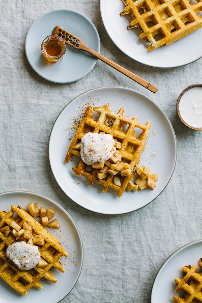 Cornmeal Quinoa Waffles with Honeyed Cinnamon Ricotta