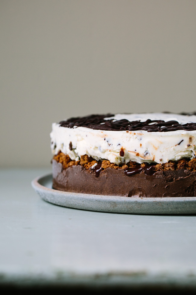 A Chocolate and Mint Chocolate Chip Ice Cream Cake with Crispy Cocoa Cookies and Dark Chocolate Malted Fudge