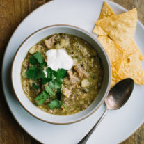 Slow Cooker Tomatillo Chili with Pork and Hominy