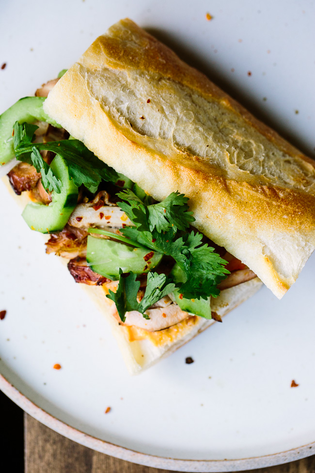 Korean-Style Chicken Cucumber Sandwiches with Gochujang Mayo