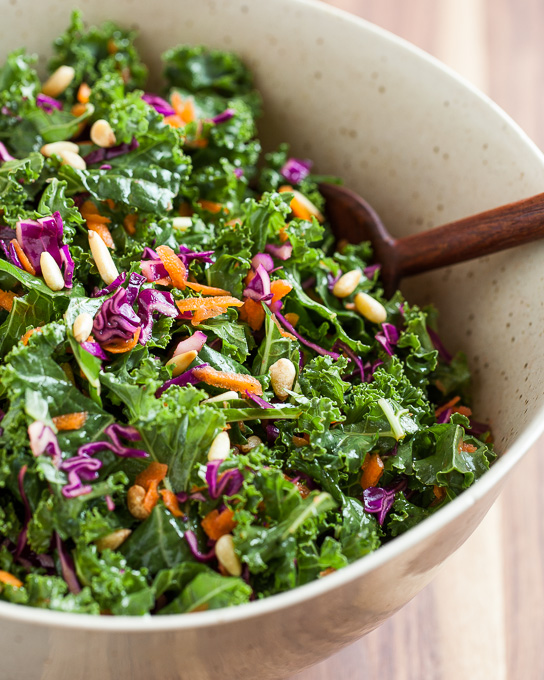 Kale Salad with Red Cabbage, Carrots, and Pine Nuts