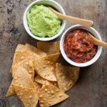 Creamy guacamole and hot salsa