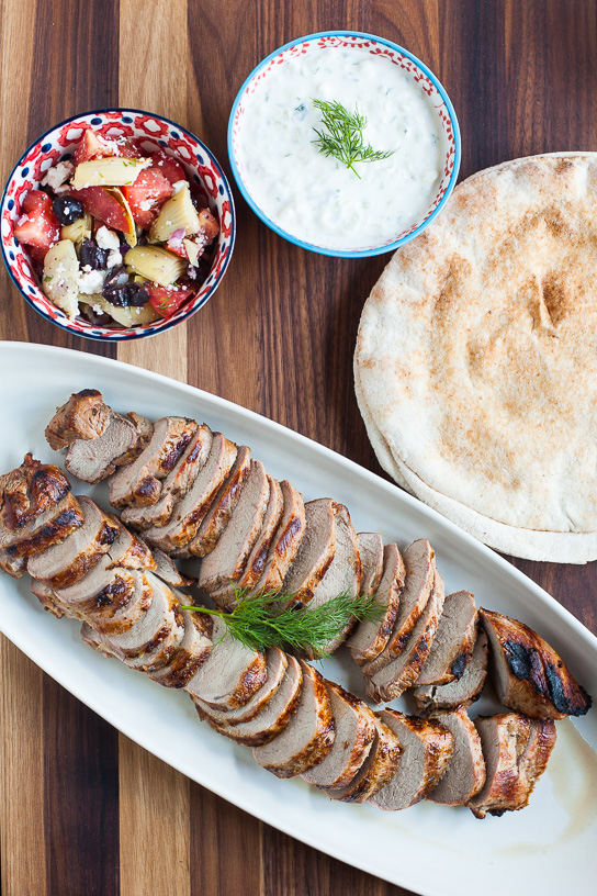 Greek-Marinated Pork Tenderloin with Tzatziki