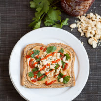 Peanut Cilantro Sriracha Toast | Gather & Dine