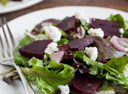 Beets, Shallots, and Feta with Mixed Greens