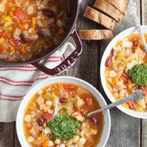 Pesto Hominy Minestrone Soup|Gather & Dine