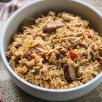 One- Pot Chicken and Sausage Jambalaya {with Brown Rice} | Gather & Dine