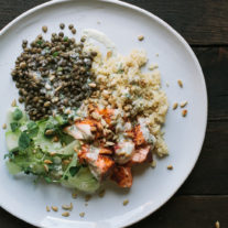 Baked Salmon and Lentils with Quinoa, Shaved Cucumbers, and Dilled Yogurt Sauce | Gather & Dine