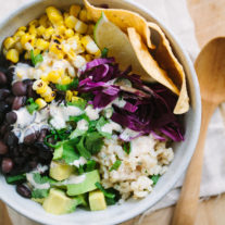 Southwestern Rice Bowls with Chipotle Ranch Dressing