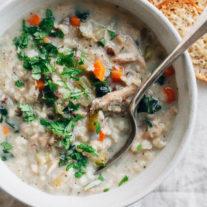Slow Cooker Creamy Turkey Rice Soup