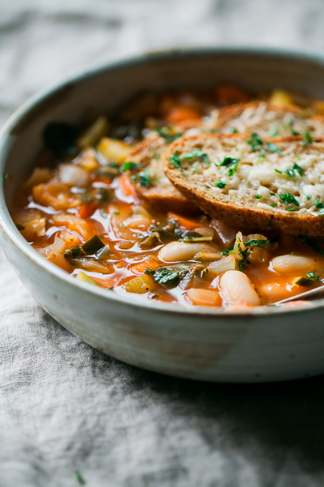 Cannellini Vegetable Soup with Parmesan Toasts