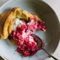 Einkorn Popovers with Yogurt and Rhubarb Raspberry Compote