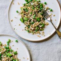 Farro Salad with Fava Beans and English Peas