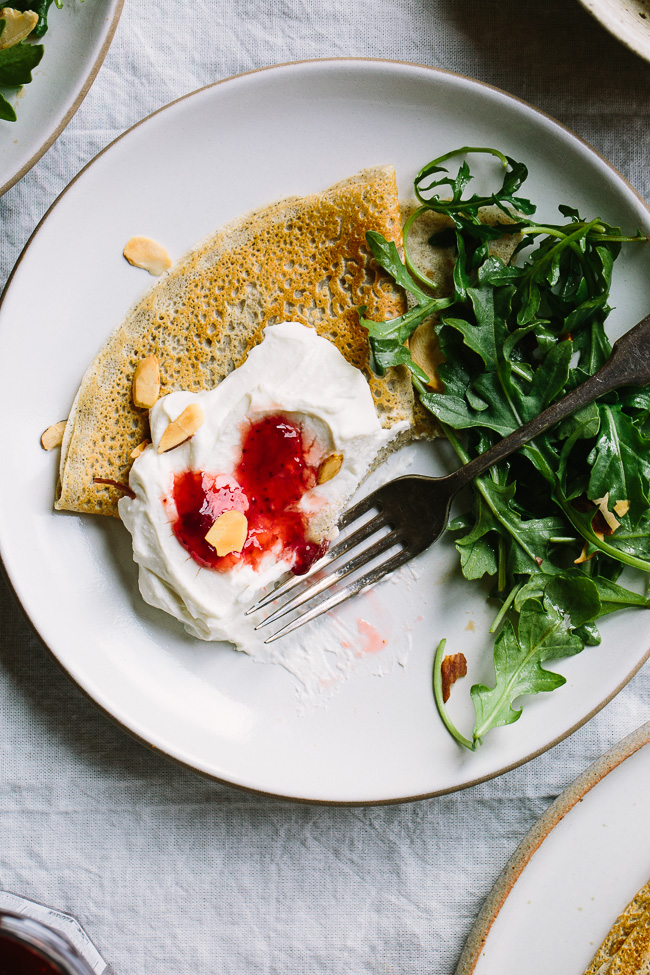 Buckwheat Crepes with Whipped Ricotta Goat Cheese and Strawberry Preserves