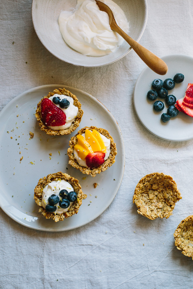 Muffin Tin Granola Cups with Lemon Greek Yogurt and Berries