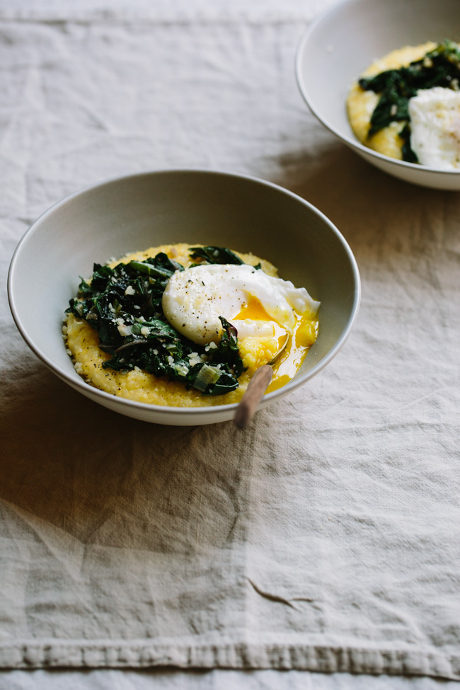 Parmesan Polenta Bowls with Chard, Leeks, and Poached Eggs