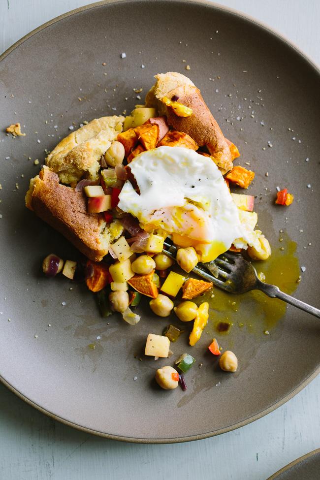 Popover with Sweet Potato Chickpea Hash