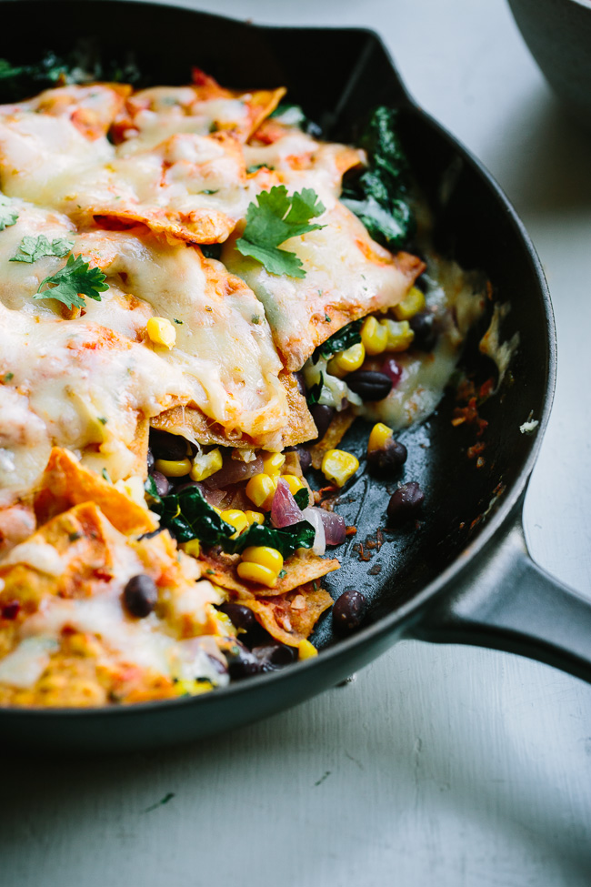 Baked Black Bean Chilaquiles Casserole