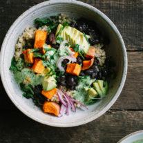 Black Bean Sweet Potato Grain Bowls with Herbed Tahini Dressing