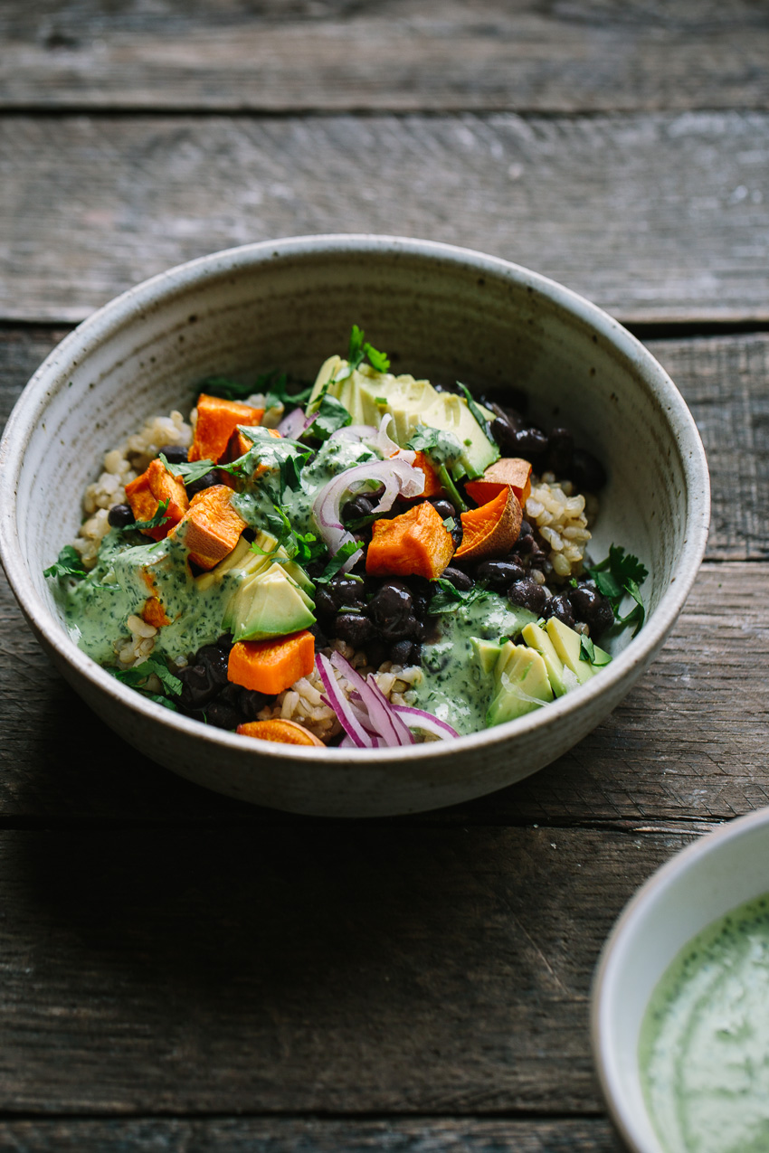 Black Bean Sweet Potato Grain Bowls with Herbed Tahini Dressing