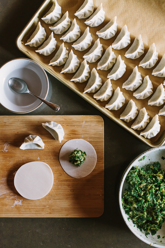 Pork, Chard, and Chive Dumplings + a wrapping tutorial