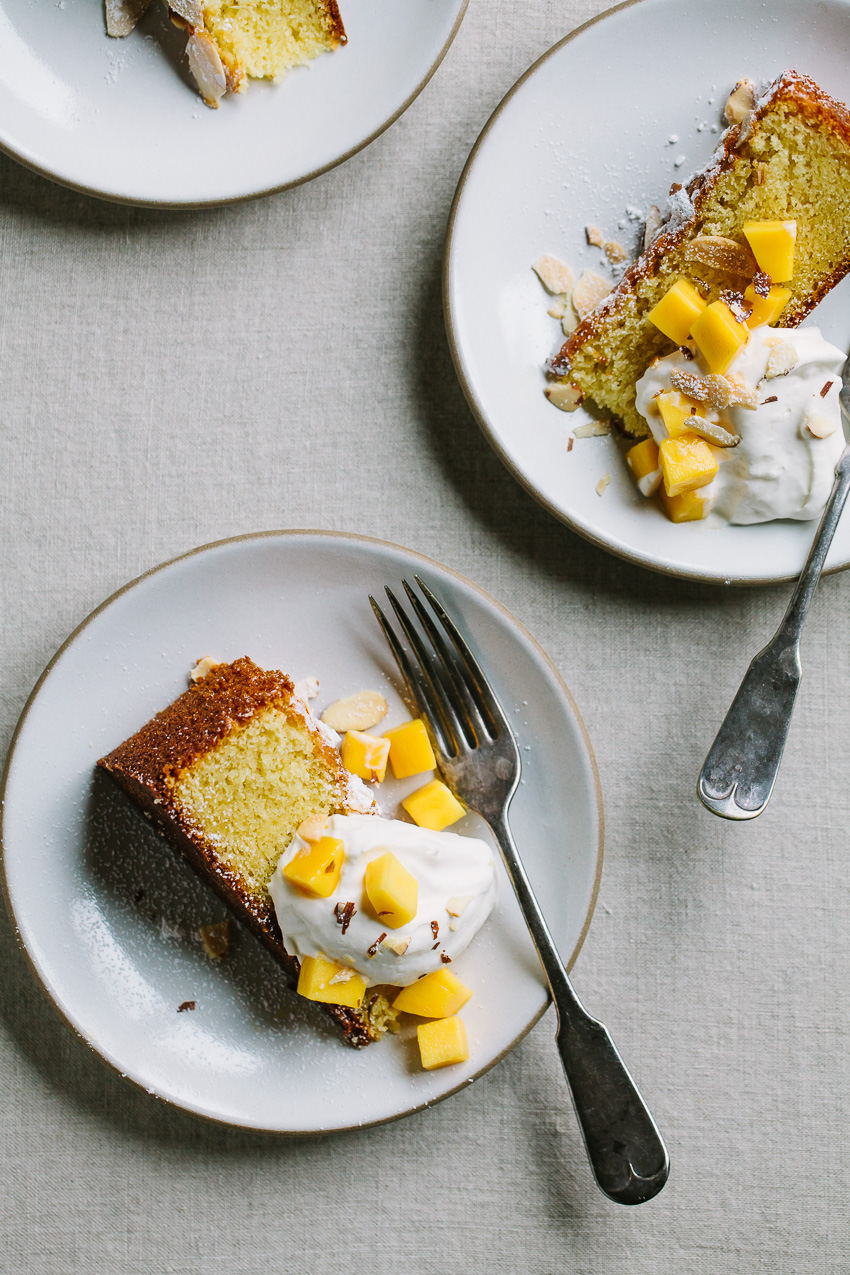 Almond Spelt Cake With Mascarpone Cream And Mango